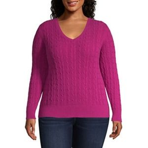Pink pull over sweater with v-neck